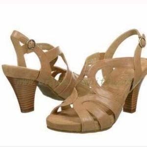 AEROSOLES Women Tan Strappy Leather Heel Sandals